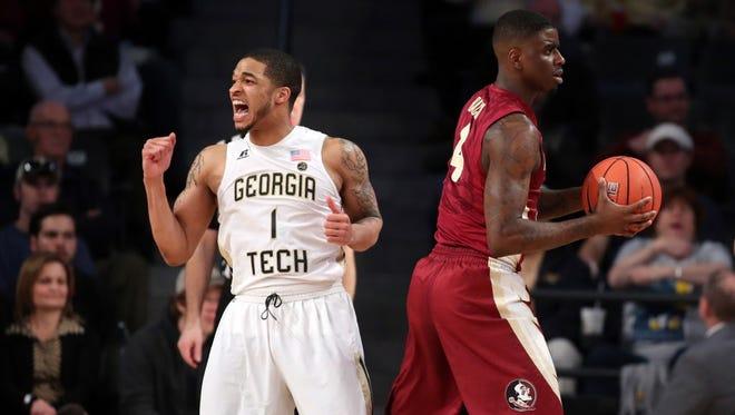 Georgia Tech guard Tadric Jackson (1) celebrates a call against Florida State guard Dwayne Bacon (4) in the first half.