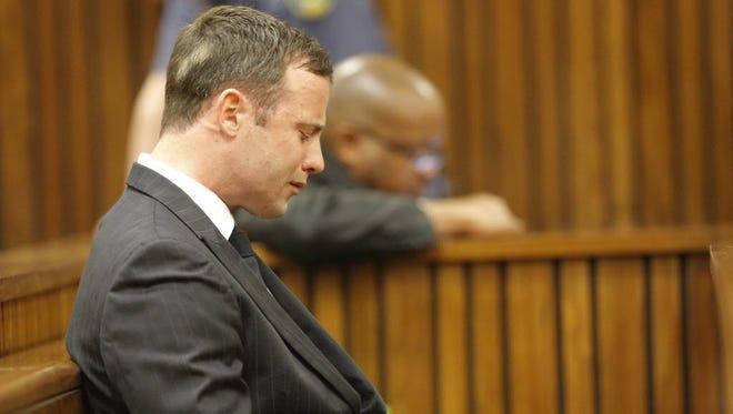 Oscar Pistorius sits in the Pretoria High Court on Sept. 11 in Pretoria, South Africa.