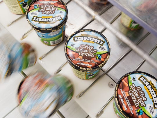 "New Ben & Jerry's ""Coffee Toffee Bar Crunch"" rolls off Line 1 at their factory in St. Albans."