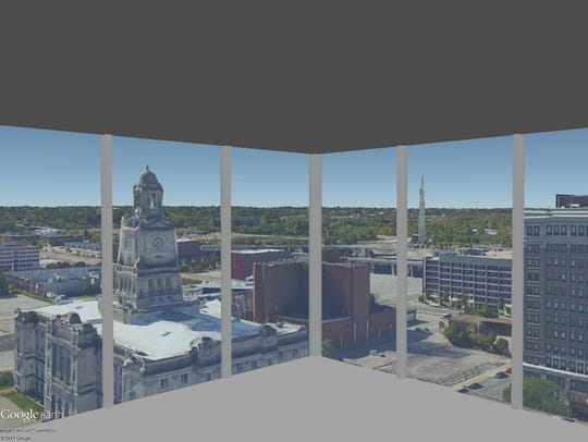 This is a rendering of the view on the 13th floor of