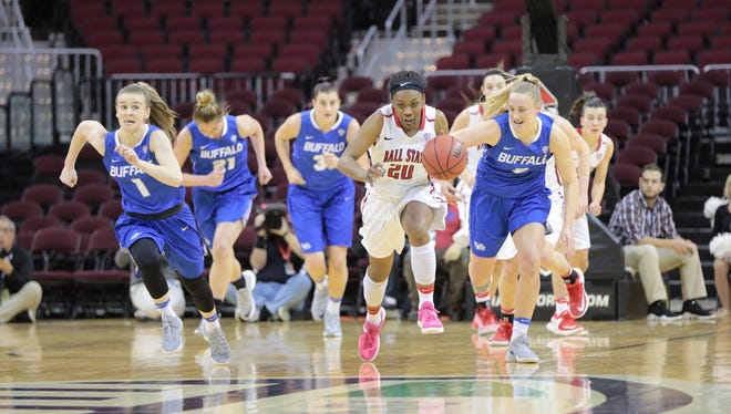 Frannie Frazier (No. 20) put up four points in Ball State's MAC Tournament loss Wednesday.