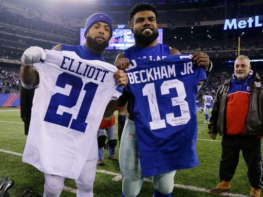 Giants' Odell Beckham, left, and Cowboys' Ezekiel Elliott