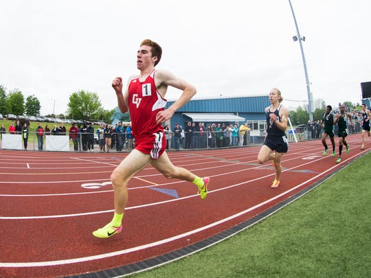 CVU's Tyler Marshall competes in the boys 800m during the division I high school track and field state championships at Burlington High School on Saturday June 3, 2017 in Burlington. (BRIAN JENKINS/for the FREE PRESS)