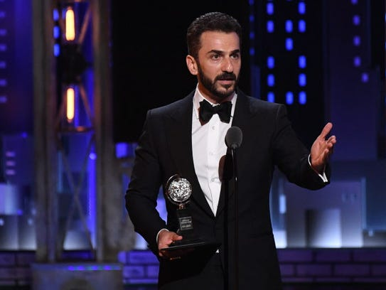 Michael Aronov accepts the Tony for featured actor