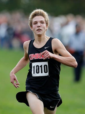 Kimberly's Rowen Ellenberg finishes 1st in the Division 1 WIAA boys cross country sectional meet at Colburn Park on Friday, October 20, 2017 in Green Bay, Wis.