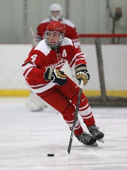 Penfield's Jack Schlifke controls the puck near center ice in a game against Victor earlier this month. Schlifke, an All-Greater Rochester selection as a sophomore in 2017, has 10 goals in 11 games.