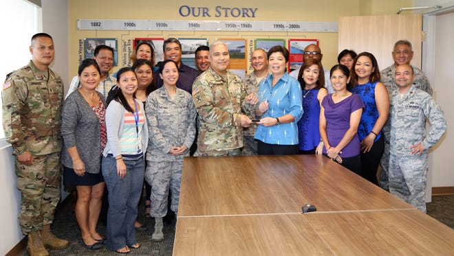 Brig. Gen. Roderick R. Leon Guerrero, Adjutant General of the Guam National Guard, presented a plaque in recognition and appreciation to Matson Navigation Company for their support of the Guam National Guard's Taotaomona 5K Run/Walk/Stroll on July 8th in which all proceeds benefited the Guard's Family Readiness Groups programs.