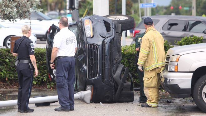 A wreck involving a FMPD cruiser at U.S. 41 and Crystal Drive launched a vehicle into the parking lot of Famous Dave's. No one was injured.
