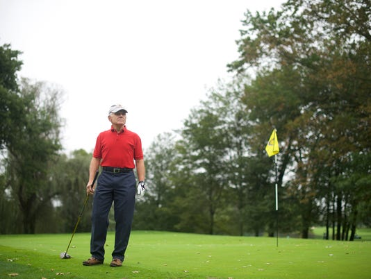 Morrie Gold, who recently cancelled his annual trip to Donald Trump's Doral golf resort to express his disgust with his remarks about women and immigrants, plays golf in West Chester, Pa.