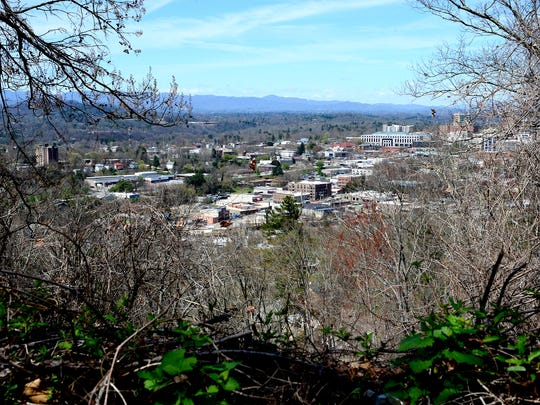 A view of downtown is seen through the trees at the