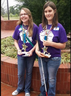 Macy James, left, of Calico Rock High School brought home First Place in the 7th-9th grade division; Kacie Sallee, 11th grader at Norfork High School, placed First in the high school division 10-12 grade.