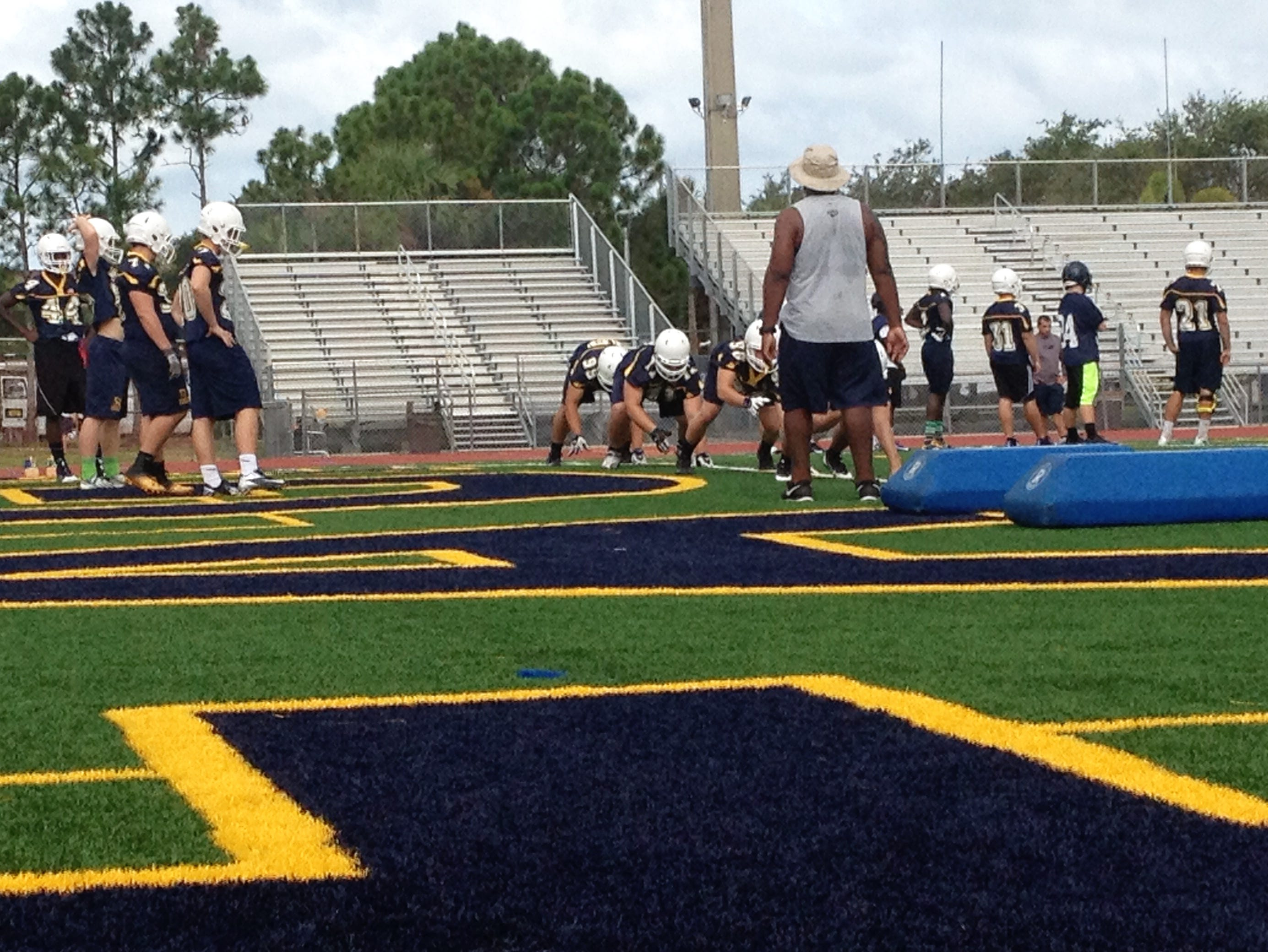 Scenes from Naples football's first practice of the season Naples High School. The Golden Eagles will face Hialeah in a preseason game.