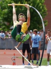 Preble's Lucas McCormick during vault competition during
