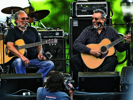 David Bromberg (right) and Jorma Kaukonen, founding member of Jefferson Airplane and member of Hot Tuna, perform together at the inaugural Bromberg's Big Noise in 2010.