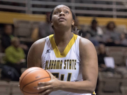 Alabama State junior center Tatyana Calhoun out of G.W. Carver High averaged 9.7 points and six rebounds this season.