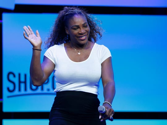 Tennis star Serena Williams walks on stage before speaking at the Shop.org conference Friday, Sept. 14, 2018, in Las Vegas. (AP Photo/John Locher)