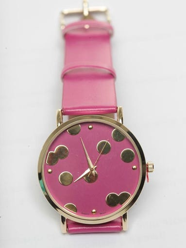 The Prickly Pear hot pink with gold dots watch. March 6, 2014