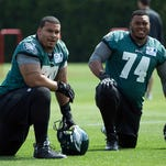 Eagles right guard Brandon Brooks, left, was signed as a free agent during the offseason after playing for the Houston Texans.