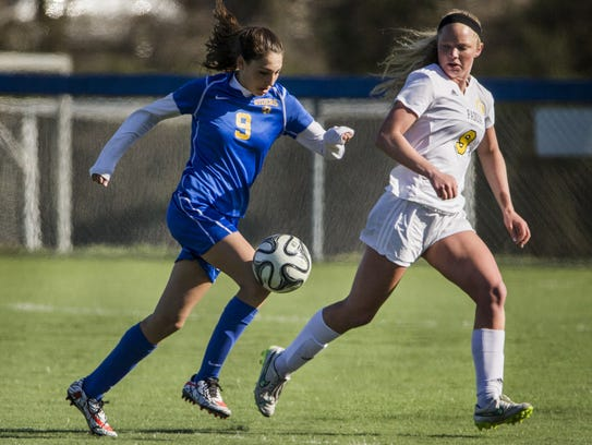 Junior Jessie Prillaman (9) is a key player for Caesar Rodney, which is 10-1 and ranked second statewide in Division I girls soccer.
