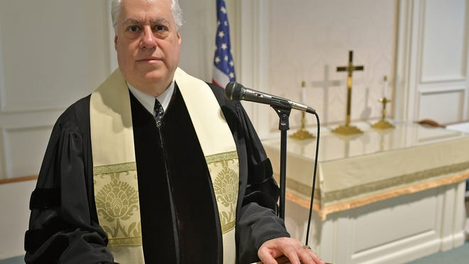 The Rev. Gary Shahinian in the Davis Chapel of First Baptist Church on Park Avenue in Worcester. The congregation will hold its final service June 28 under a tent in the parking lot of First Baptist.