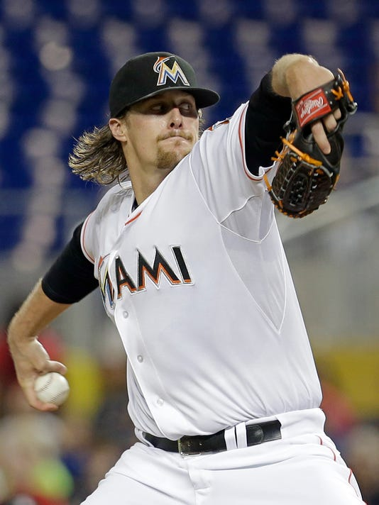 Miami Marlins' Tom Koehler pitches against the Washington Nationals in the first inning of a baseball game, Wednesday, July 29, 2015, in Miami. (AP Photo/Alan Diaz)
