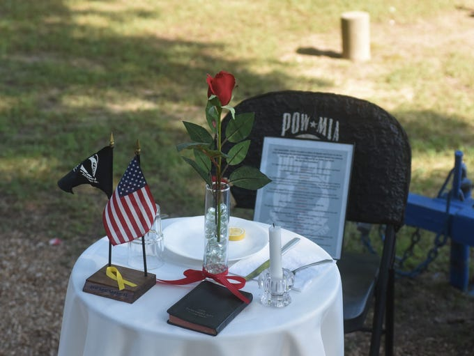 A table is laid out Thursday during Cotter's Memorial
