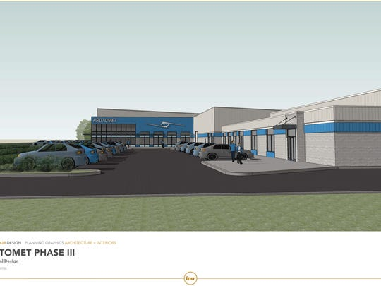A concept drawing shows Protomet Corp.'s planned 100,000-square-foot expansion attached to its current site.