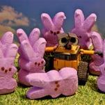 """The Your Take Peep challenge is underway, and USA TODAY readers are sharing their best Peeps pics. Share yours at yourtake.usatoday.com. Here,Peeps depict a scene from the animated film """"Wall-E."""" The image is one of a series that contributor Karen Mackey used in a book that she made for her daughter about the 2008 box-office hit."""