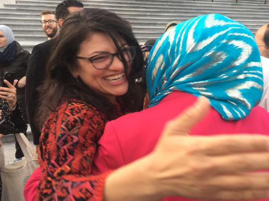 U.S. Rep. Rashida Tlaib, D-Detroit, greets supporters