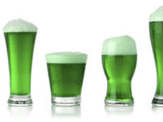 Beer dyed green is a popular option among revelers.