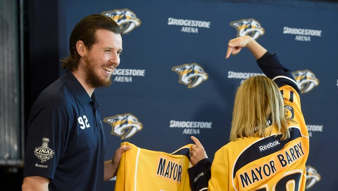Mayor Megan Barry declares injured Predators center Ryan Johansen honorary mayor for the day at a press conference Monday morning in Nashville.