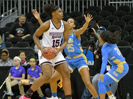 Mississippi State Lady Bulldogs center Teaira McCowan