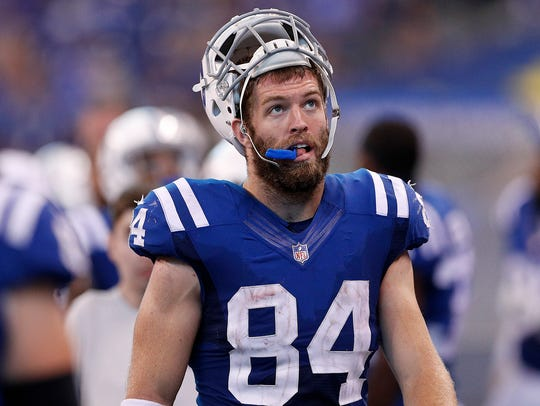 Indianapolis Colts tight end Jack Doyle (84) walks
