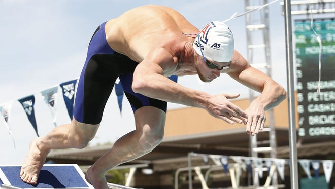 Kevin Cordes from Tucson prepares to race in the at the Arena Grand Prix on Friday, April 25, 2014 at Skyline Aquatic Center in Mesa.