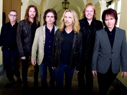 Styx, from left to right: Chuck Panozzo, Ricky Phillips, Todd Sucherman, Tommy Shaw, James (J.Y.) Young and Lawrence Gowan.