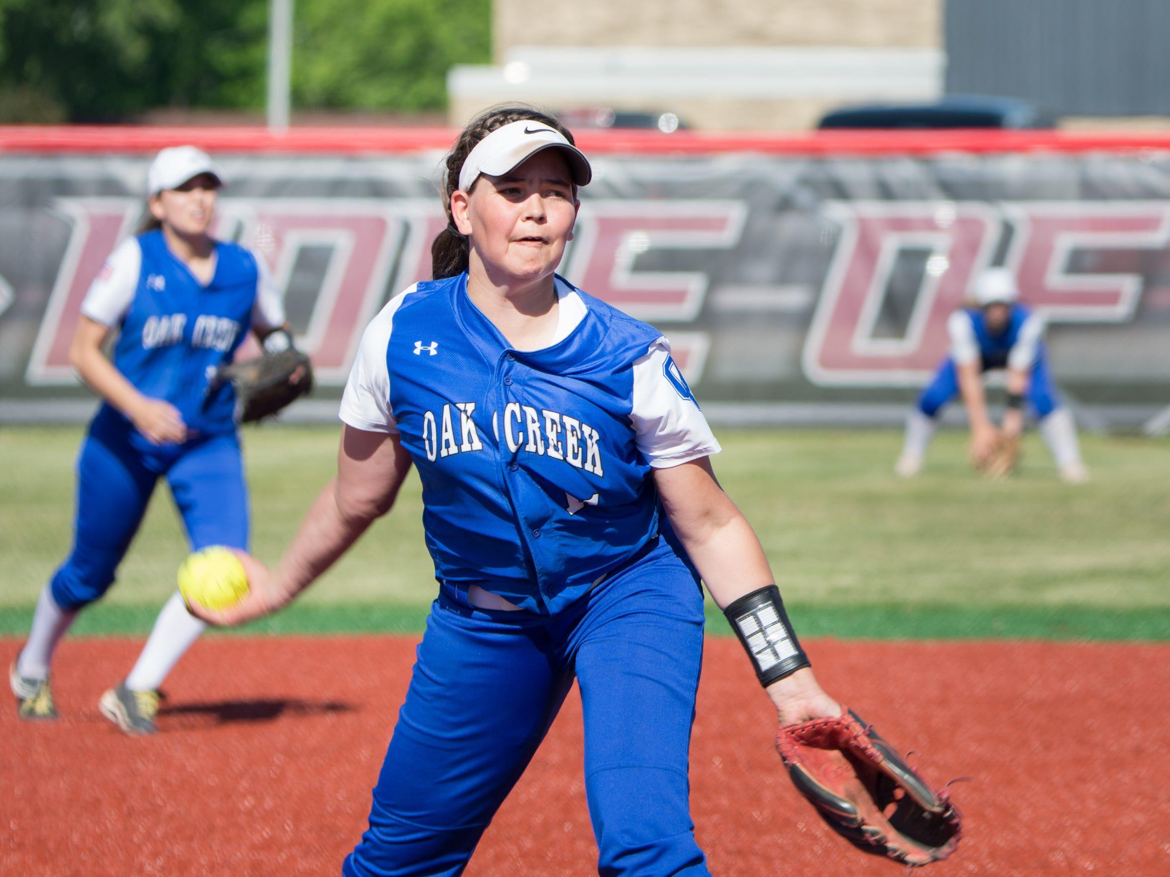 Becca Oleniczak pitches for Oak Creek against Kenosha