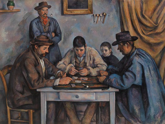 Paul Cézanne (French, 1839–1906)'s 'The Card Players (Les Joueurs de cartes)' was painted between 1890–1892. The work is oil on canvas.