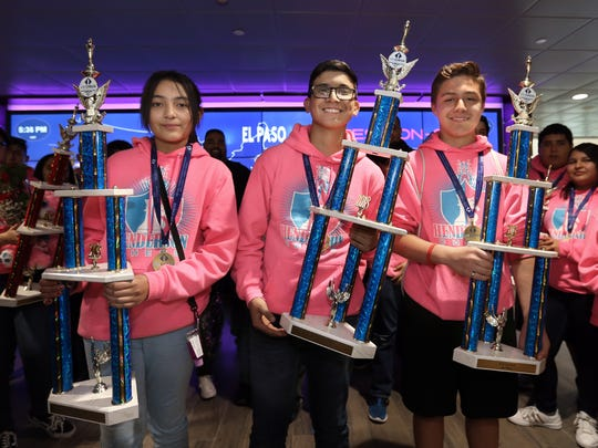 Alessandra Ruiz, left, Saul Ramirez and Sebastian Gonzalez all won individual chess national championships as well as a team national championship with the Henderson Hornets.
