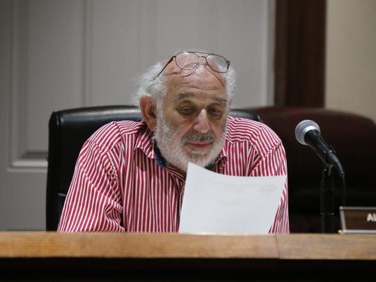 Spring Valley Mayor Alan Simon puts a vote out to the board about the childrens summer camp program special board meeting at Village Hall in Spring Valley on Thursday, June 14, 2018.