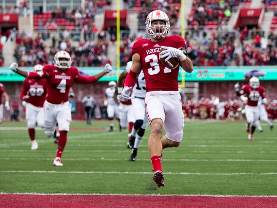 Mark Murphy celebrates after scoring IU's only touchdown