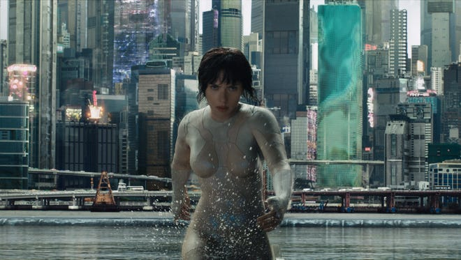 "Scarlett Johansson plays The Major in ""Ghost in the Shell.""  The movie is playing at Regal West Manchester Stadium 13, Frank Theatres Queensgate Stadium 13 and R/C Hanover Movies."