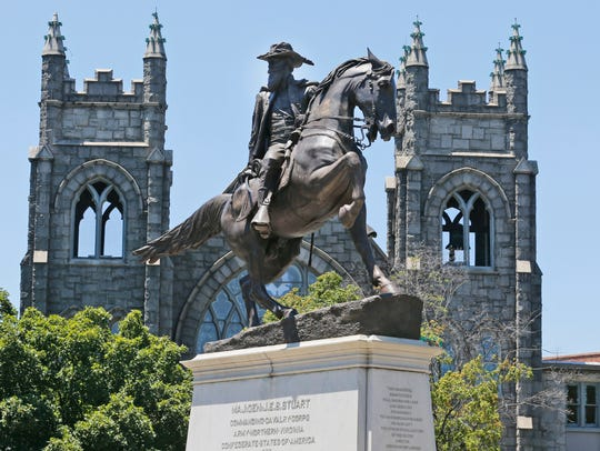 The statue of Confederate general J.E.B. Stewart on