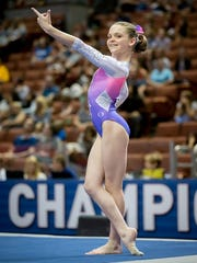 Annie Beard competing at the national championships