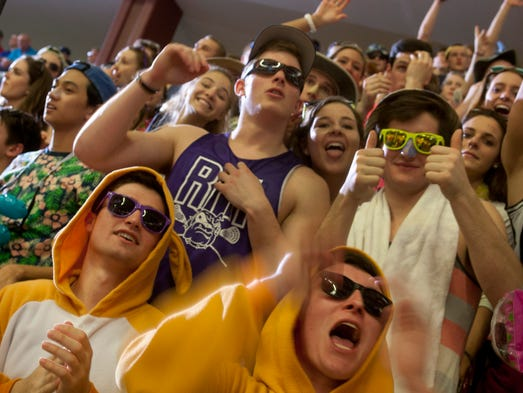 Rumson fans cheer on their team during second half