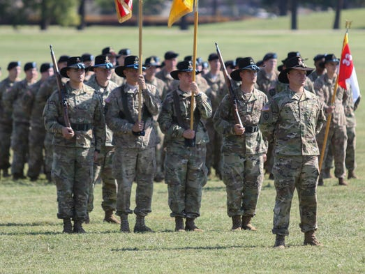 The color casing ceremony for the 1st Squadron, 33rd