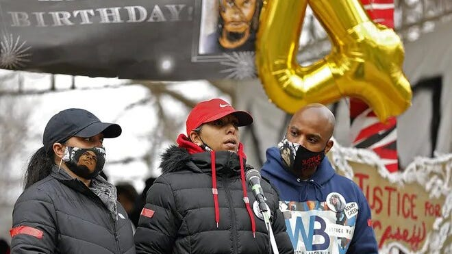 Casey Goodson's mother, Tamala Paine, speaks at Goodale Park on Saturday, Jan. 30