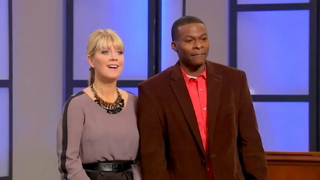 GSN host Natalie Grant and Indy bachelor Isaac Johnson pick a date from potential singles presented by the congregation at New Direction Church.