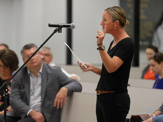 Sussex Tech's Virginia Forcucci, Delaware's 2018 Teacher of the Year speaks out against the Sussex Technical School Board at a meeting in July.