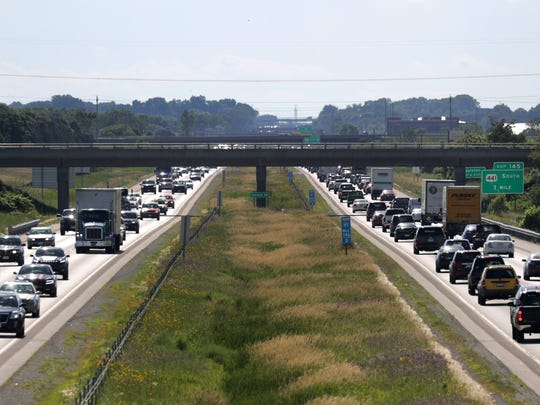 Traffic crowds Interstate 41 between Appleton and Little Chute on Monday.
