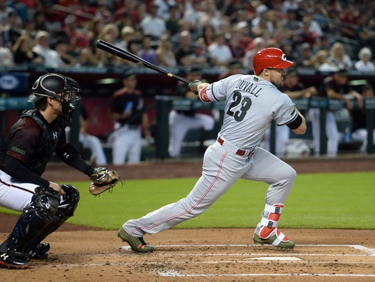 Cincinnati Reds left fielder Adam Duvall (23) hits
